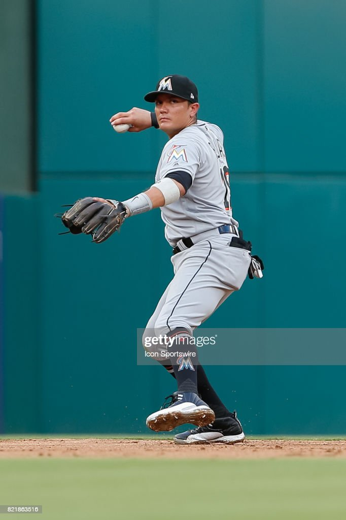 Miami Marlins Infield Miguel Rojas (19) sets to throw during the MLB game between the Miami Marlins and Texas Rangers on July 24, 2017 at Globe Life Park in Arlington, TX.
