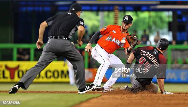 Miami Marlins' JT Riddle gets the force out on Arizona Diamondbacks' Paul Goldschmidt at second base in the sixth inning on Sunday June 4 2017 at...