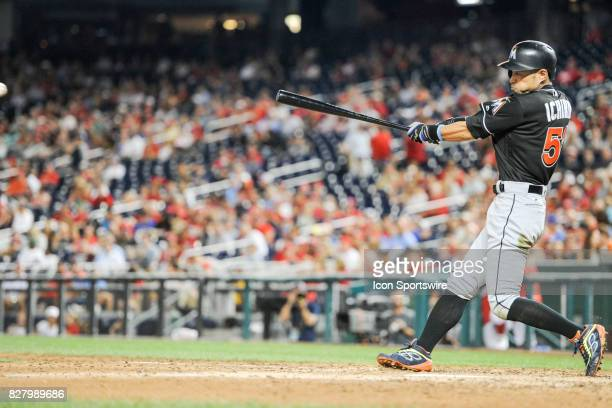 Miami Marlins left fielder Ichiro Suzuki at bat during an MLB game between the Miami Marlins and the Washington Nationals on August 8 at Nationals...