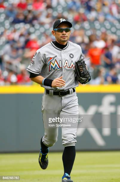 Miami Marlins left fielder Ichiro Suzuki during the major league baseball game between the Atlanta Braves and the Miami Marlins on September 10 at...