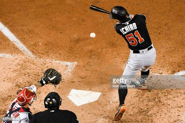 Miami Marlins left fielder Ichiro Suzuki grounds out to end the sixth inning during an MLB game between the Miami Marlins and the Washington...