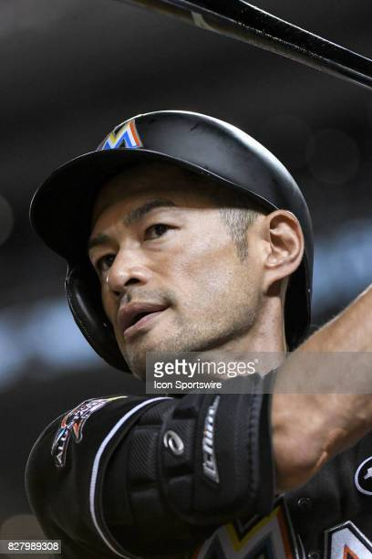 Miami Marlins left fielder Ichiro Suzuki stands in the on deck circle during an MLB game between the Miami Marlins and the Washington Nationals on...
