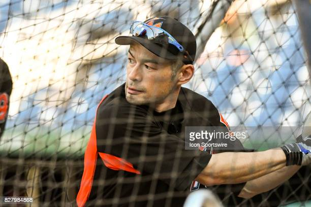 Miami Marlins left fielder Ichiro Suzuki takes batting practice prior to an MLB game between the Miami Marlins and the Washington Nationals on August...
