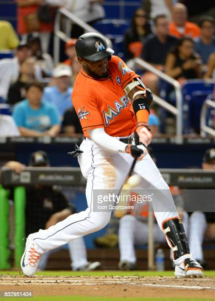 Miami Marlins left fielder Marcell Ozuna at bat during a game between the Miami Marlins and the Colorado Rockies on August 13 2017 at Marlins Park...