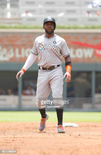 Miami Marlins left fielder Marcell Ozuna during the MLB game between the Atlanta Braves and the Miami Marlins on August 6 2017 at SunTrust Park in...