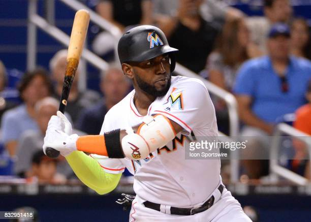 Miami Marlins left fielder Marcell Ozuna home run during a game between the Miami Marlins and the San Francisco Giants on August 14 2017 at Marlins...