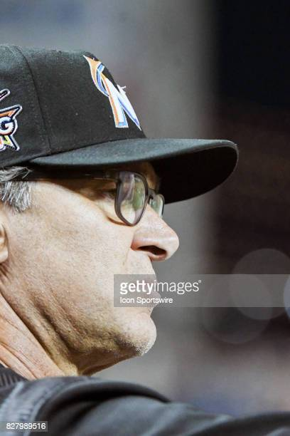Miami Marlins manager Don Mattingly stands in the dugout during an MLB game between the Miami Marlins and the Washington Nationals on August 8 at...