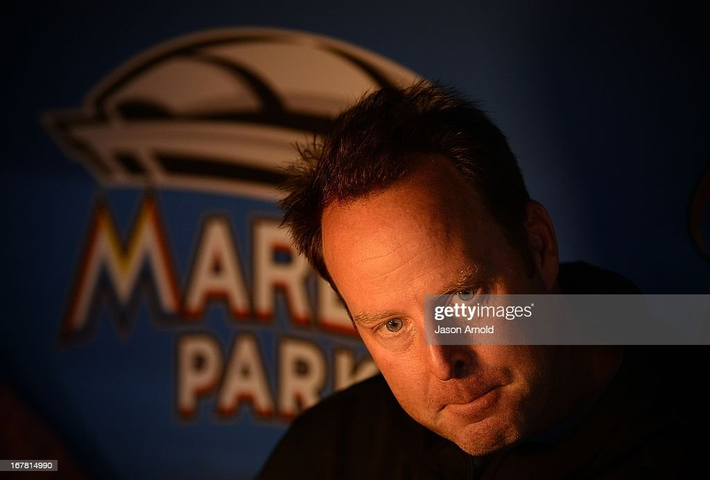 Miami Marlins manager Mike Redmond looks on prior to a game against the New York Mets at Marlins Park on April 30, 2013 in Miami, Florida.