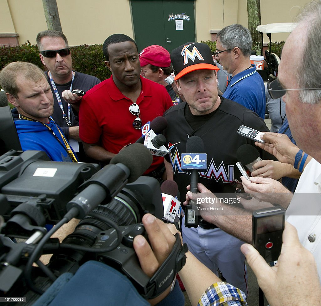 Miami Marlins manager Mike Redmond talks to reporters on the first day of full squad workouts at Marlins spring training camp at Roger Dean Stadium in Jupiter, Florida, Friday, February 15, 2013.