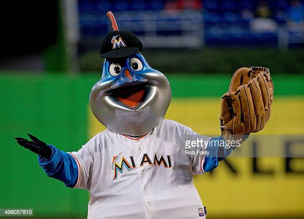 Miami Marlins mascot Billy the Marlin before the game against the Philadelphia Phillies at Marlins Park on September 24 2014 in Miami Florida