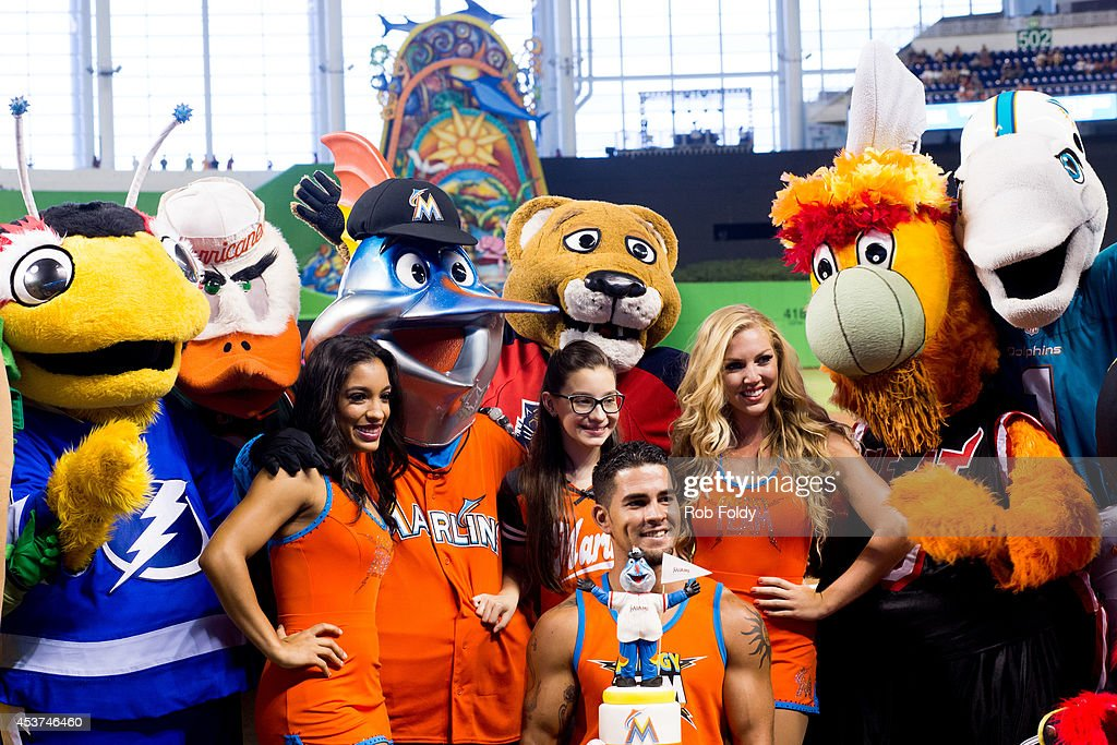 Miami Marlins mascot Billy the Marlins poses with mascots from the Tampa Bay Rays, Miami Hurricanes, Florida Panthers, Miami Heat and Miami Dolphins in between of the game between the Miami Marlins and the Arizona Diamondbacks at Marlins Park on August 17, 2014 in Miami, Florida.