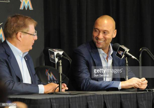 Miami Marlins' new owners Bruce Sherman and Derek Jeter speak to reporters for the first time since completing their purchase of the team from...