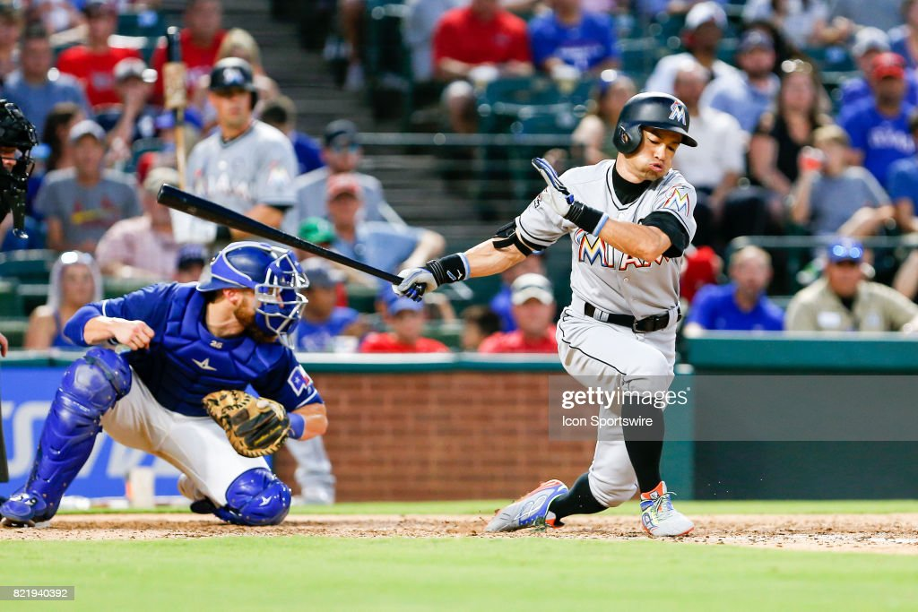 Miami Marlins Outfield Ichiro Suzuki (51) strikes out during the MLB game between the Miami Marlins and Texas Rangers on July 24, 2017 at Globe Life Park in Arlington, TX. Miami defeats Texas 4-0.