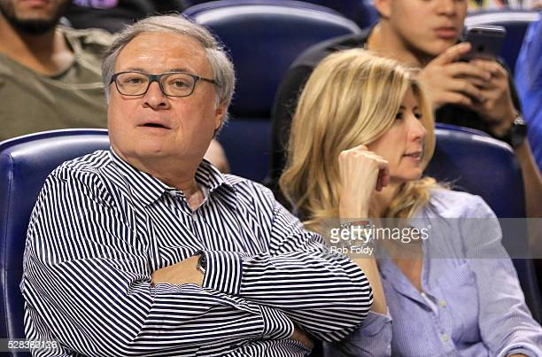 Miami Marlins owner Jeffery Loria looks on during the game between the Miami Marlins and the Arizona Diamondbacks at Marlins Park on May 4 2016 in...