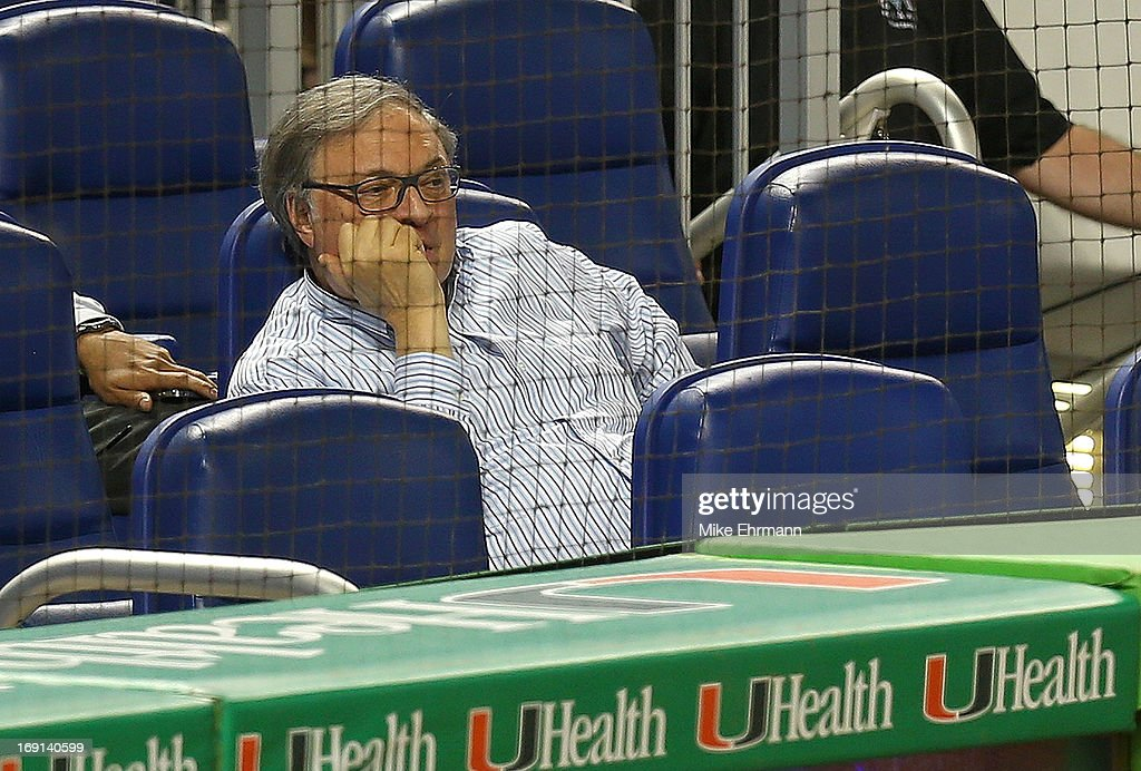 Miami Marlins owner Jeffery Loria watches a game against the Philadelphia Phillies at Marlins Park on May 20, 2013 in Miami, Florida.