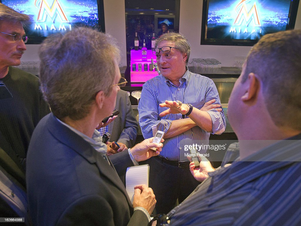 Miami Marlins owner Jeffrey Loria answers questions from the media in the Diamond Club at the Marlins Stadium in Miami, Florida, Monday, February 25, 2013. Loria addressed the media for the first time since dismantling the 2012 team in November.
