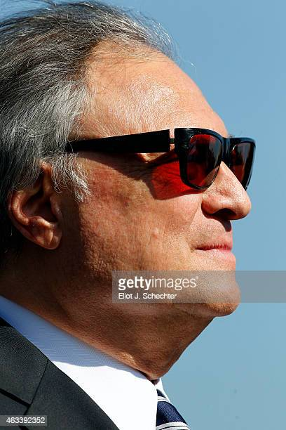 Miami Marlins owner Jeffrey Loria looks on during the press conference announcing the Miami Marlins will host the 2017 Major League Baseball Game at...