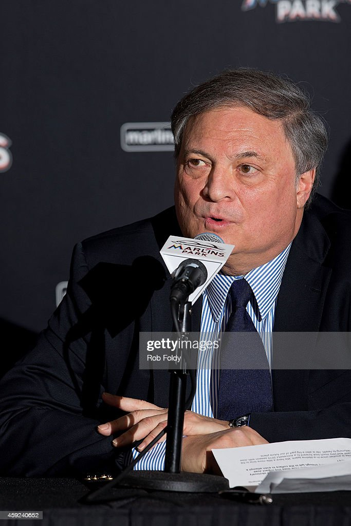 Miami Marlins owner <a gi-track='captionPersonalityLinkClicked' href=/galleries/search?phrase=Jeffrey+Loria&family=editorial&specificpeople=692109 ng-click='$event.stopPropagation()'>Jeffrey Loria</a> speaks during a press conference at Marlins Park on November 19, 2014 in Miami, Florida.