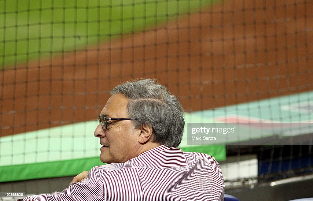 Miami Marlins owner <a gi-track='captionPersonalityLinkClicked' href=/galleries/search?phrase=Jeffrey+Loria&family=editorial&specificpeople=692109 ng-click='$event.stopPropagation()'>Jeffrey Loria</a> watches his team against the San Francisco Giants during the second inning at Marlins Park on July 19, 2014 in Miami, Florida.The Giants defeated the Marlins 5-3.
