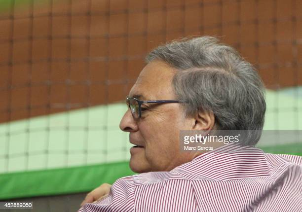 Miami Marlins owner Jeffrey Loria watches his team against the San Francisco Giants during the second inning at Marlins Park on July 19 2014 in Miami...