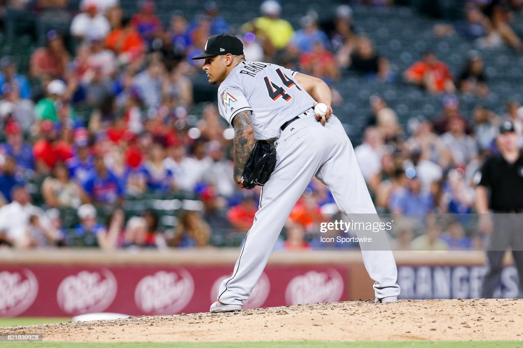 Miami Marlins Pitcher A.J. Ramos (44) comes on in relief during the MLB game between the Miami Marlins and Texas Rangers on July 24, 2017 at Globe Life Park in Arlington, TX. Miami defeats Texas 4-0.