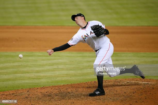 Miami Marlins pitcher Brad Ziegler works during the ninth inning against the Washington Nationals at Marlins Park in Miami on Tuesday June 20 2017...
