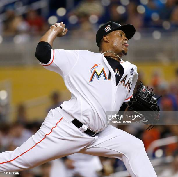 Miami Marlins pitcher Edinson Volquez works during the second inning against the Washington Nationals at Marlins Park in Miami on Tuesday June 20...