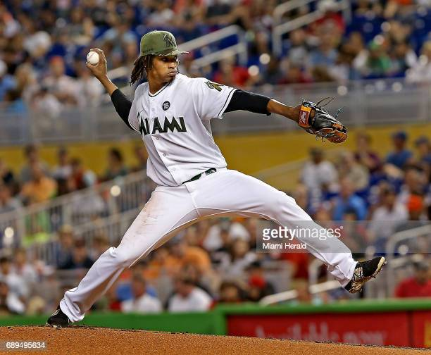 Miami Marlins pitcher Jose Urena throws a pitch in the third inning against the Los Angeles Angels on Sunday May 28 2017 at Marlins Park in Miami Fla
