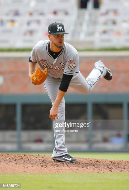 Miami Marlins pitcher Justin Nicolino during the major league baseball game between the Atlanta Braves and the Miami Marlins on September 10 at...