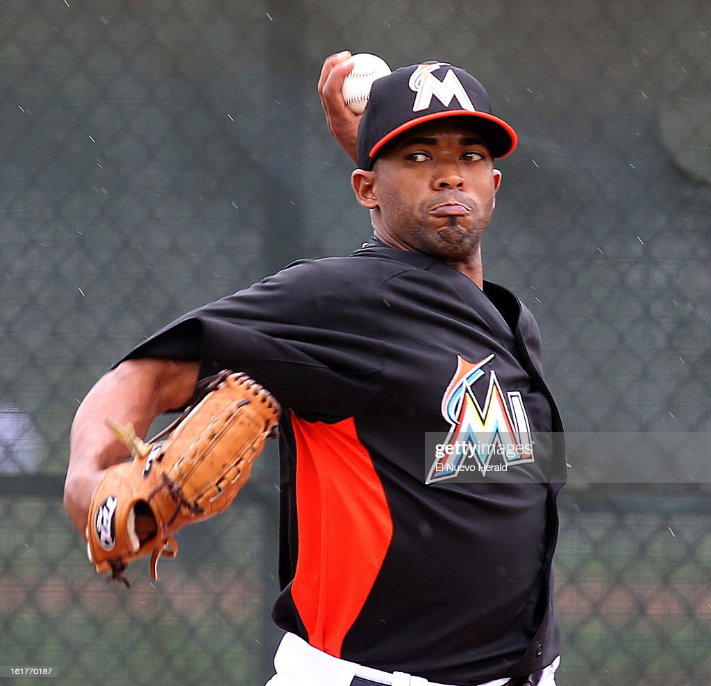 Miami Marlins pitcher Raudel Lazo throws during spring training in Jupiter, Florida, on Friday, February 15, 2013.