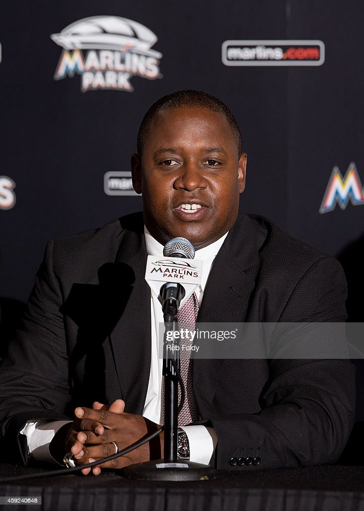 Miami Marlins President of Baseball Operations Michael Hill speaks during a press conference at Marlins Park on November 19 2014 in Miami Florida