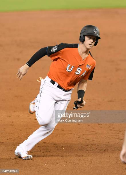 Miami Marlins prospect Brian Anderson of the US Team runs the bases during the 2017 SiriusXM AllStar Futures Game at Marlins Park on July 9 2017 in...