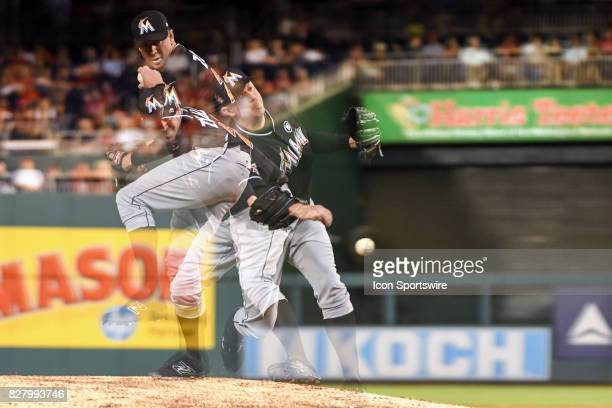 Miami Marlins relief pitcher Brad Ziegler pitches in an in camera multiple exposure in the ninth inning during an MLB game between the Miami Marlins...