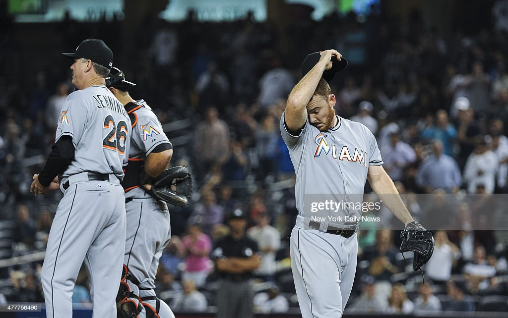 Miami Marlins relief pitcher Sam Dyson pulled 8th inning New York Yankees vs Miami Marlins at Yankee Stadium Thursday June 18 2015