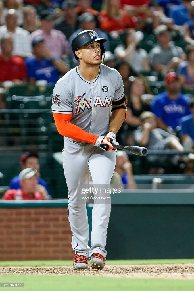 Miami Marlins Right field Giancarlo Stanton (27) hits his second home run of the night during the MLB game between the Miami Marlins and Texas Rangers on July 24, 2017 at Globe Life Park in Arlington, TX. Miami defeats Texas 4-0.
