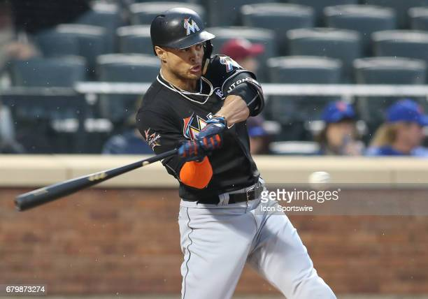 Miami Marlins Right field Giancarlo Stanton homers during the second inning of the National League Eastern division game between the Miami Marlins...