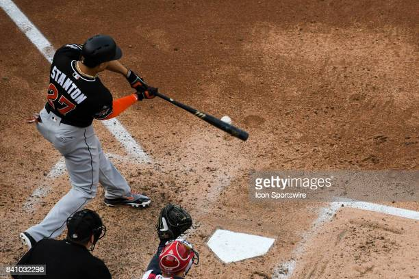 Miami Marlins right fielder Giancarlo Stanton grounds out in the sixth inning during an MLB game between the Miami Marlins and the Washington...