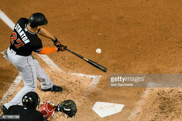 Miami Marlins right fielder Giancarlo Stanton hits a fifth inning three run home run during an MLB game between the Miami Marlins and the Washington...