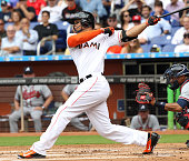 Miami Marlins right fielder Giancarlo Stanton strikes out during the first inning on Monday April 6 at Marlins Park in Miami