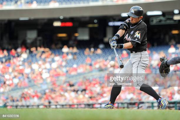 Miami Marlins right fielder Ichiro Suzuki bats in the ninth inning during an MLB game between the Miami Marlins and the Washington Nationals on...