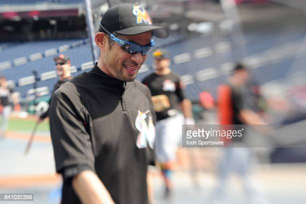 Miami Marlins right fielder Ichiro Suzuki comes off the field following batting practice prior to an MLB game between the Miami Marlins and the...