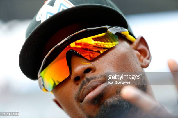 Miami Marlins second baseman Dee Gordon looks on during the MLB game between the Atlanta Braves and the Miami Marlins on August 6 2017 at SunTrust...