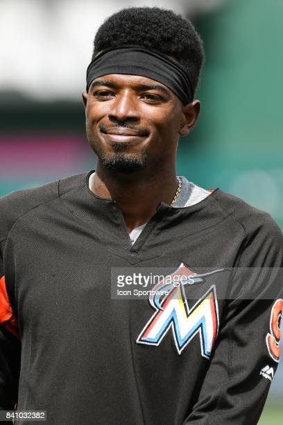 Miami Marlins second baseman Dee Gordon warms up prior to an MLB game between the Miami Marlins and the Washington Nationals on August 30 at...