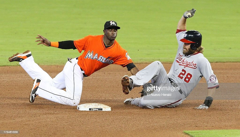 Miami Marlins shortstop Adeiny Hechavarria tags out Washington Nationals right fielder Jayson Werth in the fourth inning at Marlins Park in Miami, Florida, Sunday, July 14, 2013.