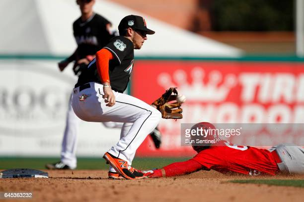 Miami Marlins shortstop JT Riddle tries to tag out the St Louis Cardinals' Wilfredo Tovar as he slides into second base during spring training at...