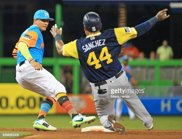 Miami Marlins shortstop Miguel Rojas beats the San Diego Padres' Hector Sanchez to the bag for a secondinning out at Marlins Park in Miami on...