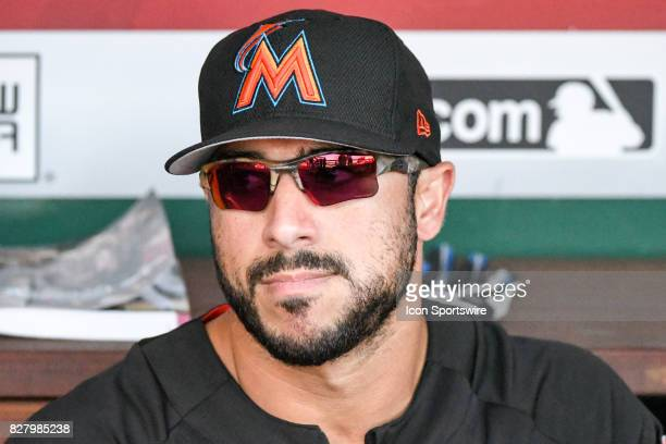 Miami Marlins shortstop Mike Aviles sits in the dugout prior to an MLB game between the Miami Marlins and the Washington Nationals on August 8 at...