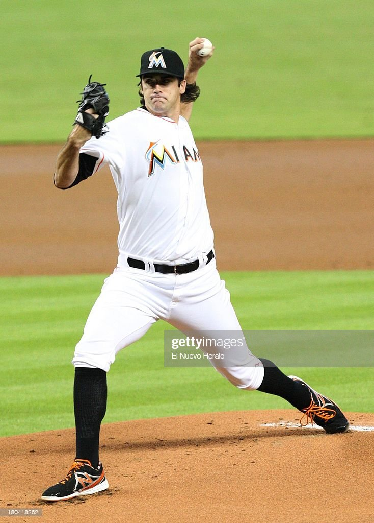 Miami Marlins starter Brian Flynn pitches during the first inning at Marlins Park in Miami, Florida, Thursday, September 12, 2013.
