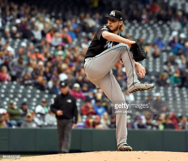 Miami Marlins starting pitcher Adam Conley delivers a pitch in the first inning against the Colorado Rockies on September 27 2017 in Denver Colorado...