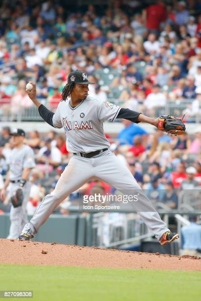 Miami Marlins starting pitcher Jose Urena during the MLB game between the Atlanta Braves and the Miami Marlins on August 6 2017 at SunTrust Park in...